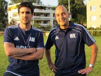 Alain Merkli und Werner Kienle, das Trainerduo der 1. Mannschaft, im vergangenen Herbst auf dem Sportplatz Riet.